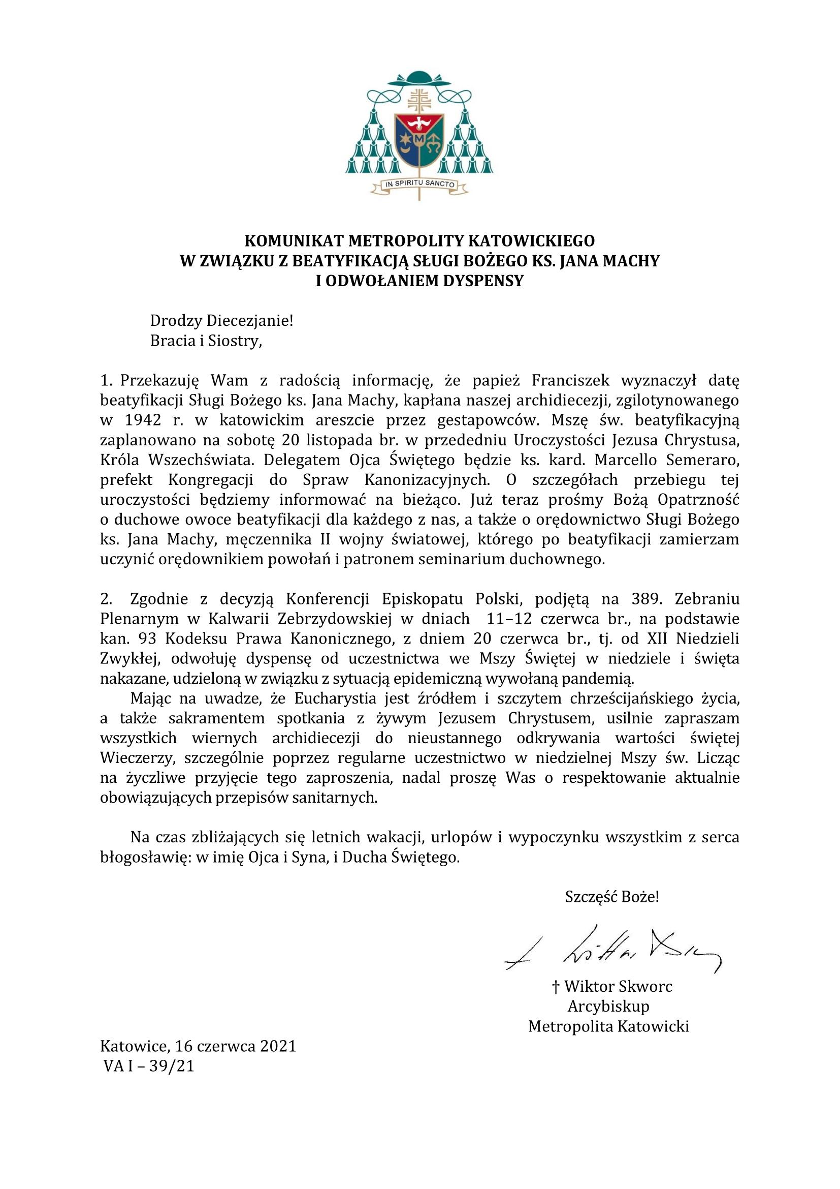 Abp Komunikat w zwiazku z beatyfikacja i odwo aniem dyspensy 1